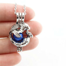 -K666 Mermaid Pearl Rock Cage Pendant  Aromatherapy Locket Lady Necklace