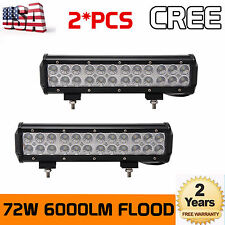 2X 12inch 72W CREE LED Driving Light Bar Flood Beam Car ATV UTV Truck Fog Lamp