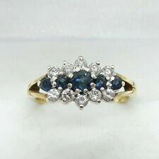 9ct Gold 0.48ct Sapphire and Diamond Cluster Ring