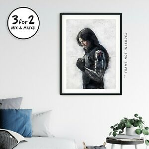 Bucky Barnes Painting, Avengers Winter Soldier Movie Poster on 100% Cotton Paper