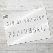 Parfumerie Text Vintage Stencil. Shabby Chic French Perfume Bottle designs 10653
