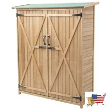 """Garden Structures And Shade 64"""" Wooden Storage Shed Outdoor Fir Wood Cabinet"""