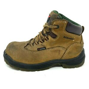 Red Wing Women's Brown Leather Steel Toe Waterproof Work Boots Size 6 2413-05
