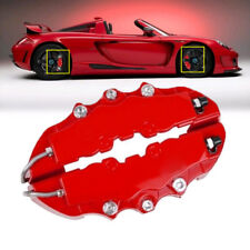 4x 3D Red Car Disc Brake Caliper Covers Front & Rear Easy Install w/ Keyring