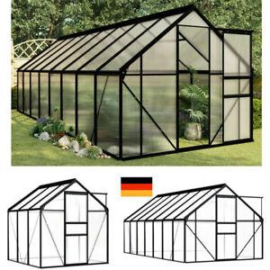 Gewächshaus Aluminium mit Fundament Treibhaus Glashaus Tomatenhaus Polycarbonat