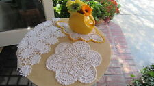 New listing Lot of 4 Vintage Hand Crochet Table Doilies White & Ecru - Shabby Chic