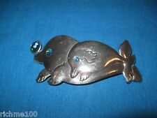 """Blue Abalone Shell & Stainless Metal Swimming Dolphin Dolphins Hair Clip 5"""" Vtg"""