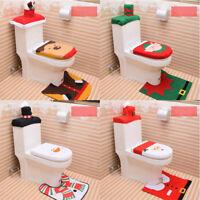 3PCS Set Christmas Elf Toilet Seat Cover Mat Rug Set Xmas Home Decoration Decor