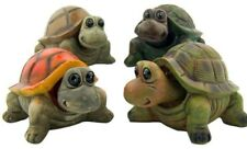 """Set of 4 Bobblehead Turtle Figurines 4"""" Resin Collectible Home Garden Statues"""