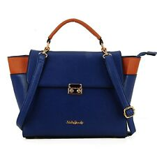 Blue Synthetic Leather Patchwork Trapeze Ladies Handbag Shoulder Strap morts