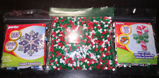 Lot of 2 Perler Bead Christmas Kits Candy Cane Snowflake w/Christmas Beads