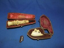 Vintage Meerschaum Pipe and Cigarette Holder with Cases