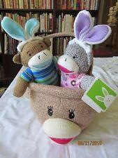 lot of DanDee Easter Cupcake girl & blue boy  Sock Monkey With Bunny Ears,basket