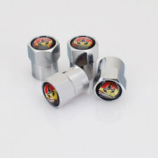 4 X Silber Chrom Reifen Ventil Staubkappen (passt ABARTH) - Schwarz