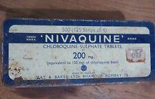 VINTAGE ADVERTISE MEDICAL TIN SIGN BOX NIVAQUINE MAY & BAKER LTD BOMBAY 1970