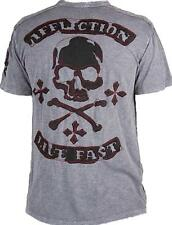 """AFFLICTION RARE """"GALEN"""" SHORT SLEEVE HENLEY WITH LEATHER DESIGN SIZE M NWT"""