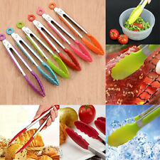 Silicone Stainless Steel Handle Utensil Tongs FOR Food Kitchen Cooking Salad BBQ