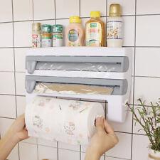 Wall Mount Paper Towel Holder Cling Film Spice Rack Kitchen Roll Foil Dispenser