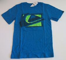 NWT Quiksilver Big Boys L Short Sleeve MW Spray Tee T-Shirt Blue Lime Logo Surf