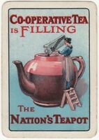 Playing Cards 1 Single Card Old Wide CO-OPERATIVE TEA Advertising Teapot LADY 1