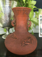 Antique Japanese Meiji Tokoname Dragon Relief Red Clay Pottery Handled Vase