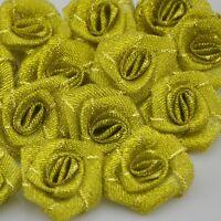 40pcs wholesale gold Metallic Glitter ribbon Flower Rose trimming sewing A082G