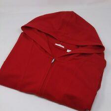 J. Jill PureJill Women's Sweater Red Quarter Zip Oversized Pocket Hoodie Pima