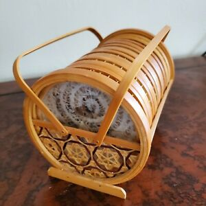Vintage  Set 6 Pressed Butterfly Bamboo/Wicker Coasters w/ Holder Caddy Kitchen