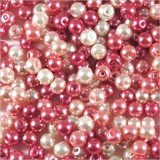 Lot de perles nacrées 4mm Mix Rose Verre de Bohème 100g environ 1200 pcs