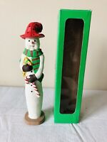 "Tall Skinny Snowman Figurine Resin w Red Hat Green Scarf Candy Cane 8"" w Box"