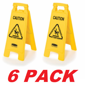 Rubbermaid Commercial FG611200YEL Yellow Traffic Safety Sign Wet Floor Signs 6PK
