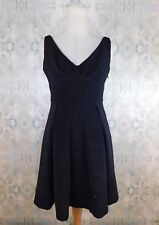 NWT Betsey Johnson Black Silver Metallic Ribbed Bow Fit & Flare Dress 4 Small