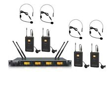 4 X 100 Channels UHF wireless 4 Lavalier 4 Headset microphone Mic system