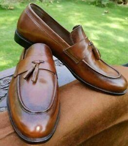 Chaussures de mariage à la main en cuir marron avec mocassin et glands