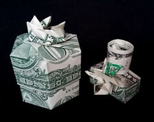 Money Origami 3D GIFT BOX with Lid for Camera Made out of 2 Real $1 Dollar Bills