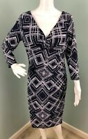 NWT Womens Ralph Lauren 3/4 Sleeve Surplice V Geo Print Sheath Dress Sz 10