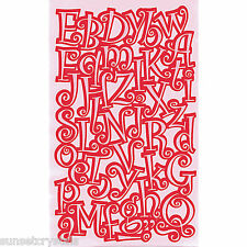 Iron-On Transfer - Alphabet Letters Pink Curly - A-Z