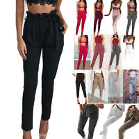 Women High Waist Paperbag Trousers Cigaratte Long Pants Tie Belt Office Casual