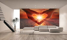 Sunset in Heart Hands Wall Mural Photo Wallpaper GIANT DECOR Paper Poster