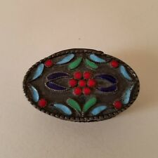 Antique Russian Cloisonne 1000 Silver Hinged Pill  Snuff Box