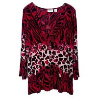CHICO'S TRAVELERS Women's size XL/3 Faux Wrap Top Animal Print Wrinkle Free Red