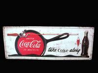 Coca-Cola Vintage Look Sign Take Coke Along Fishing Pole Cast Iron Pan Brand New