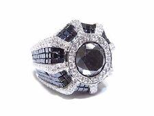 14k White Gold 18.50tcw Round & Princess Cut Black & White Diamond Big Ring