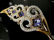 Signed Swarovski Crystal Leaf Pin~Brooch 22Kt Gold Plating Retired Nwt