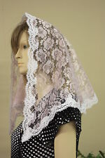 Pink veils and mantilla Catholic church chapel scarf lace headcovering latin Med