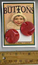 2 Fancy RED Pearl luster Coat cut design VINTAGE BUTTONS = Cassie Annie ART CARD