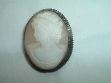 Silver Made in Italy Vintage Shell Cameo Pin Pendant