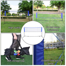 Portable Height Adjustable Badminton Volleyball Tennis Net Set With Carry Bag US