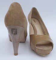 FENDI Beige Suede Tan Patent Leather Open Toe Platform Pumps FF Logo Heels 37.5