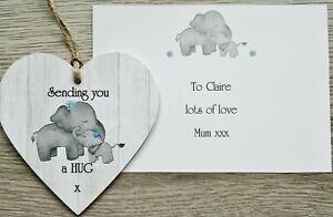 Sending You A Hug Mini Heart Plaque Sign - Isolation Gift Lockdown / Quarantine